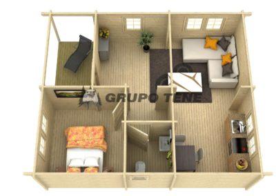 plano casa de madera arlanzon b