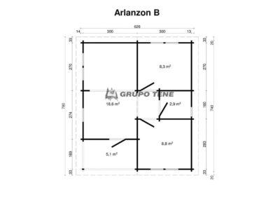 plano casa de madera arlanzon b2