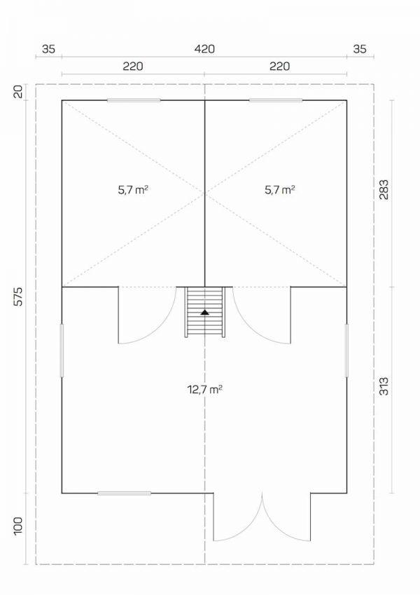 plano caseta de jardin de madera Gotland G con altillo