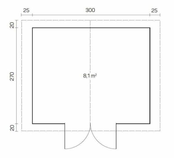plano caseta de jardin de madera Britta B