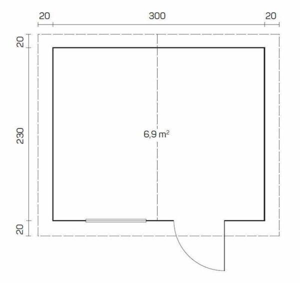 plano caseta de jardin de madera Caroline A