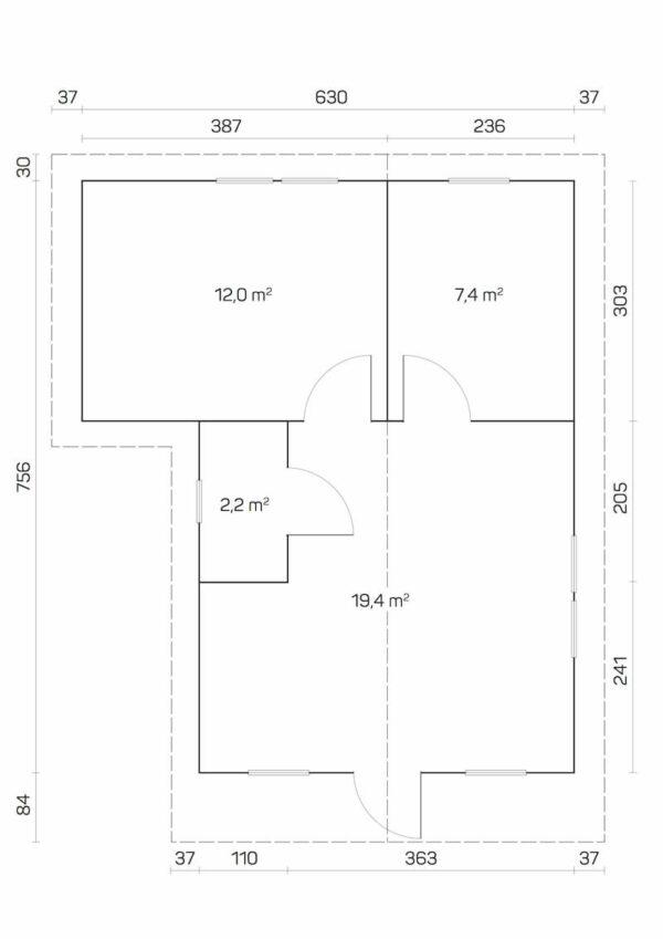 plano Casa de Jardín de madera Cervino