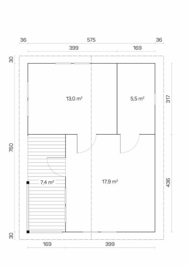 Plano Casa de Jardín de madera Falun C
