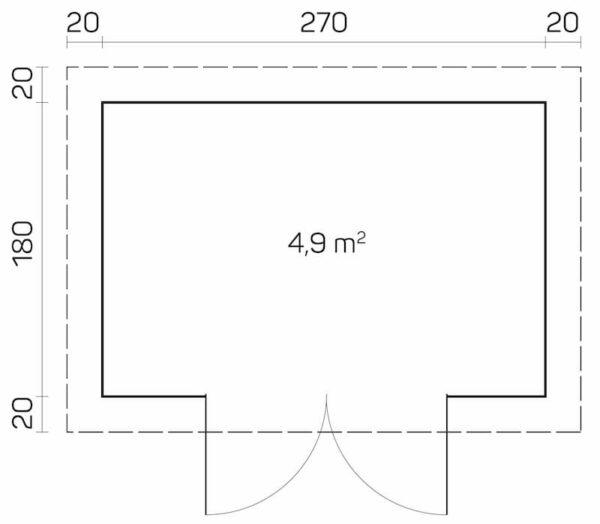 plano caseta de jardin de madera Gloria A