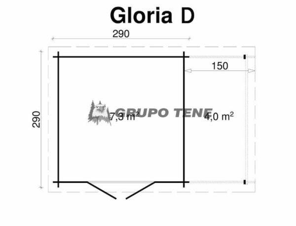 Caseta de Jardín de madera con porche Gloria D