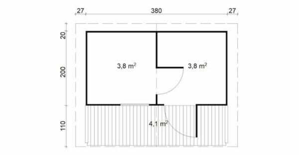 plano Sauna de madera Hannu