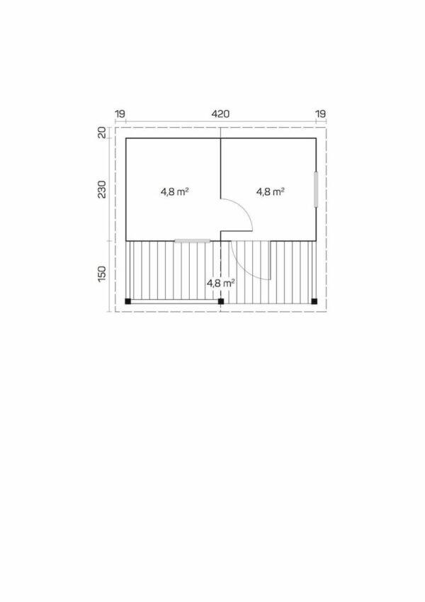 plano Sauna de madera Kalevi