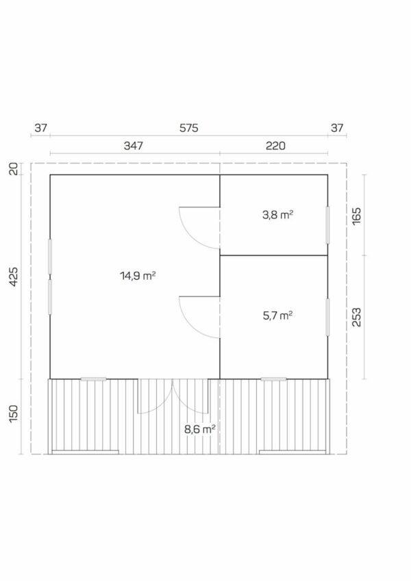 plano Casa de Jardín de madera Monviso