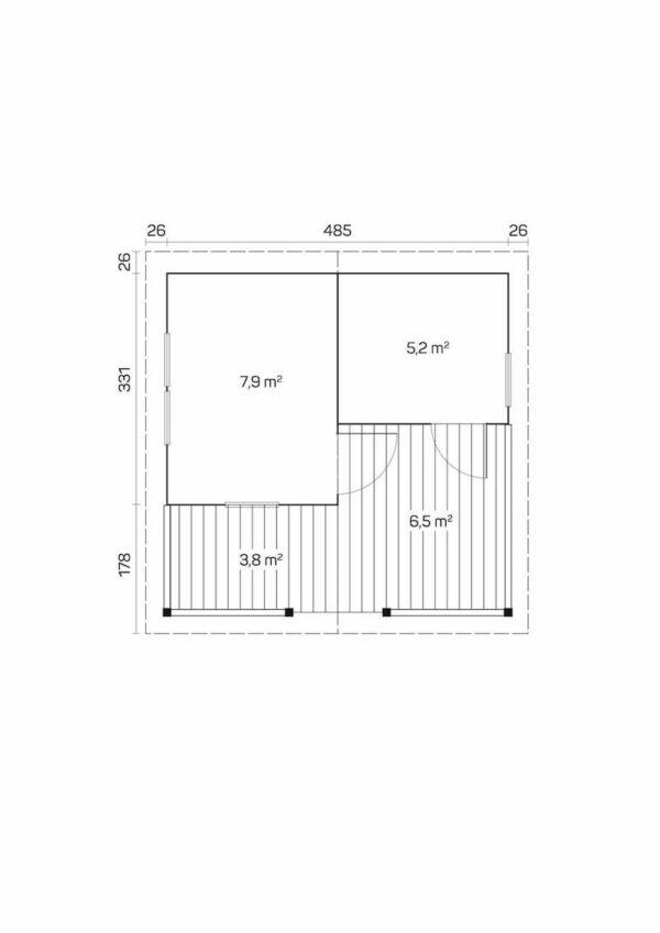 plano Sauna de madera Otto
