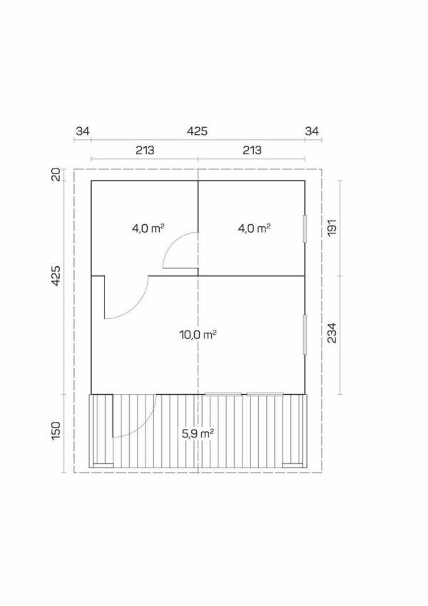 plano Sauna de madera Pekka