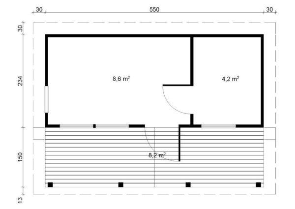 Plano Sauna de madera Piha-Tuuri 19