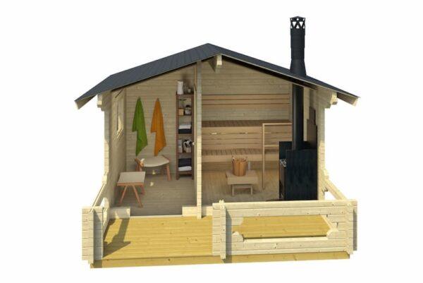 Sauna de madera Piha-Tuuri 12