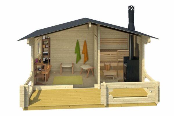 Sauna de madera Piha-Tuuri 15