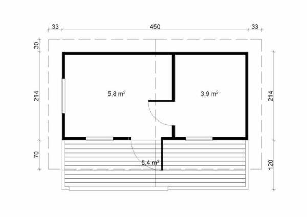 Plano Sauna de madera Piha-Tuuri 15