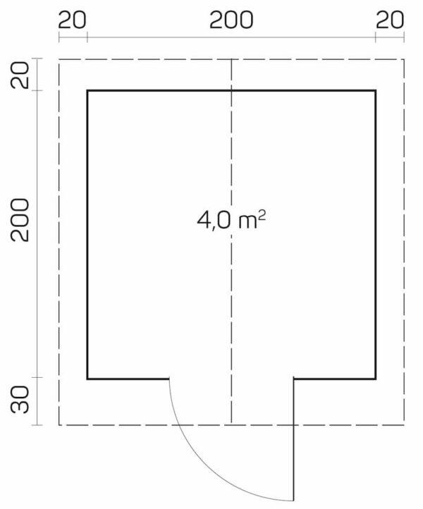 plano Caseta de Jardín de madera Tiina A
