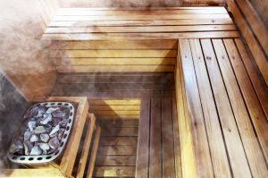 Fuente de calor en la sauna finlandesa